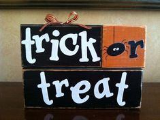 Wood Trick or Treat Blocks - Wood Halloween blocks - Seasonal Home Decor for fall, Halloween, and thanksgiving decorating--for inspiration