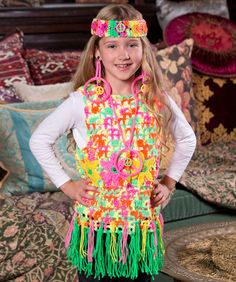 Flower Child Vest Free Crochet Pattern from Red Heart Yarns #Halloween #costume