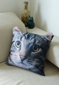Cat, cat cushion cover, cat pillow cover, cat portrait cushion cover, pet cushion cover, pillow cover, gift, CU-115 on Etsy, $17.90
