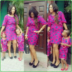 Mother daughter Ankara print in pink with blue design