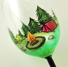 Happy Camper CUSTOM hand painted wine glass -or- beer mug -or- pilsner or any type of glassware... by vk. $45.00, via Etsy. happi camper, gift, beer, paint wine, paint glass, wine glass, campfires, happy campers, glass paint