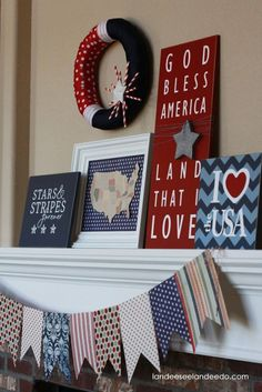 holiday, craft, mantel, fourth of july, red white blue