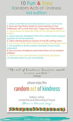 random acts of kindness kids, kid boredom busters, kid approv
