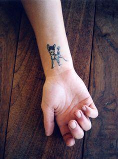 Bambi ink. tattoo placements, tattoo ideas, girl tattoos, art, small tattoos, wrist tattoos, disney tattoos, bambi tattoo, tattoo ink