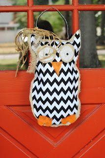 Owl Burlap Hanger