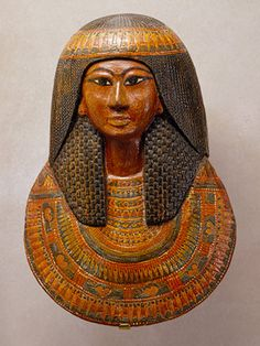 Khonsu's funerary mask, New Kingdom, reign of Ramesses II, ca. 1279–1213 B.C.  Egyptian; From the tomb of Sennedjem, Deir el-Medina, western Thebes  Painted wood and cartonnage
