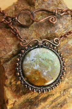 Copper Wire Wrapped Jasper Focal Stone - Pendant