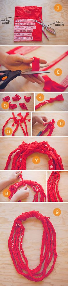 See instructions on our blog : http://shopwalkinlove.com/t-shirt-scarves-diy/#.T4SJeppSRc8