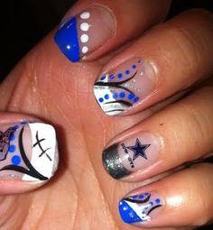 Dallas Cowboys Football Nails!!!!! @Kaylee Score Kemery :)