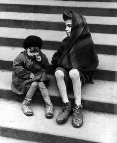 Warsaw, Poland, Two children in the ghetto.