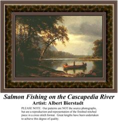 Salmon Fishing on the Cascapedia River, Fine Art Counted Cross Stitch Pattern also available in Kit and Digital Download #pinterestcrossstitchpattern #pinterestgifts