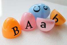Capital and lowercase letter matching For this one, place the capital letter on one half of the egg and the lowercase letter on the other half.  Then mix up all the pieces and have your little one match up the capital and lowercase letters.  This can also be used with all capital letters or all lowercase letters to work on letter recognition.