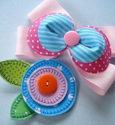 Cute bow that can be made with embroidery machine.