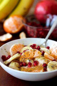 Winter Fruit Salad with Lemon Poppyseed Dressing | WholeLifestyleNutrition.com