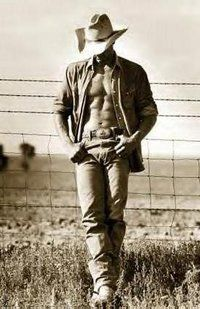 sexy shirtless cowboy!  Hell yeah!