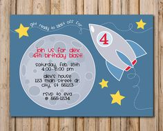 Printable SPACE Birthday Party Invitation  by doodleprints on Etsy, $8.00