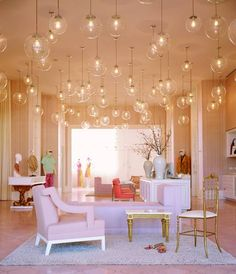 Trina Turk LA Store Interior / The English Room Blog interior design, trina turk, boutiqu, lighting, light fixtures, palm springs, pendant lights, kelly wearstler, bubbl