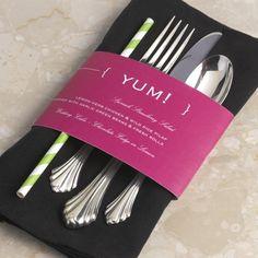 Cheers to Us - Wedding Menu. Wrap around a napkin or utensils for a unique presentation. #DavidsBridal #WeddingMenu #Typography