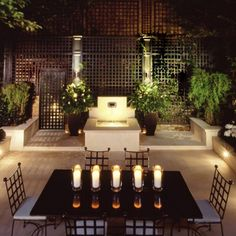 An atmospheric outdoor dining space at night thanks to the candles