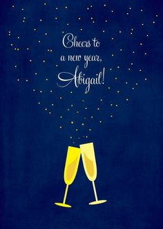 Delightful Bubbles - New Year Greeting Card in Sapphire | Magnolia Press | Cheers | ChampagneToast