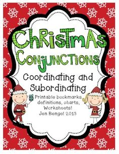 Freebie!  Printables and teaching suggestions for coordinating and subordinating conjunctions.  Great for centers work.