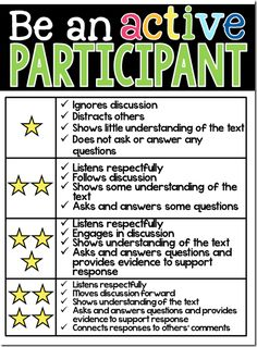 """be a """"four star participant"""" - excellent tool to use during small group instruction!"""