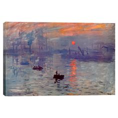 """Canvas wall art of Claude Monet's Sunrise Impression.  Product: Wall artConstruction Material: CanvasFeatures: Original art by Claude MonetDimensions: Small: 18"""" H x 26"""" WMedium: 26"""" H x 40"""" WLarge: 40"""" H x 60"""" W (overall)Note: Large size comes as a three panel set"""