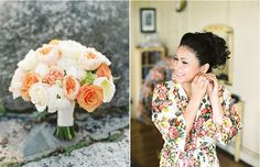 The bride's coral and white bouquet. Emily Scannell Photography.