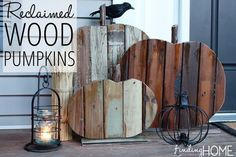 Get your home fall-ready with these gorgeous wood pumpkins made from reclaimed wood!