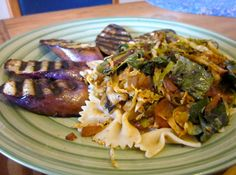 Grilled Eggplant and Pasta in Brussels Sprouts Sauce