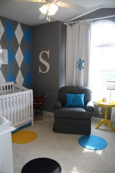 Argyle Boys Nursery-Paint design above wainscoating