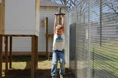 Zip line in our backyard. Great idea for the kids! They love to play outside now.