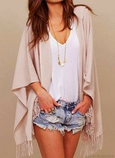 Sexy cut off blue jeans shorts, street style, white tank, and fringe wrap. Tiny long gold chain ties this summer outfit together