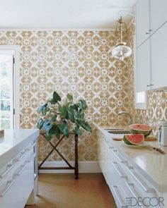 wall of tile in kitchen