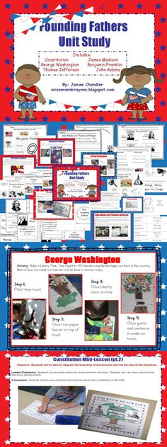 Founding Fathers Unit for grades 1-3 covers the Constitution, Branches of Government, James Madison, George Washington, Benjamin Franklin, John Adams, and Thomas Jefferson. This unit would also be great during Studies on Presidents (excluding B. Franklin)