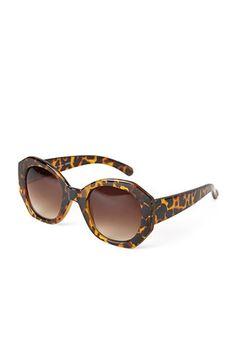 Pentagonal Tortoiseshell Sunglasses