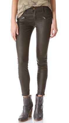 These jeans are a great way to stay stylish and warm. The ankle zipper is useful for accommodating different boot heights! fashion, stiletto jean, jeans, soho zip, ankl zipper, stilettos, boot height, currentelliott, zip stiletto