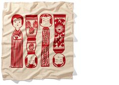 Kokeshi Red Towels - Set of three $30 fr House Industries #gifts #home #kitchen #japan