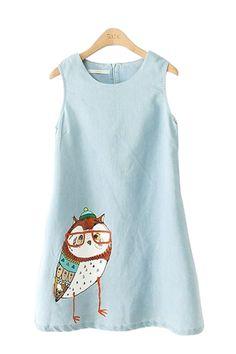 Blue Owl Print A-line O-neck Denim Sleeveless Dress