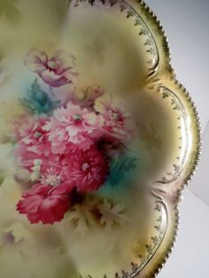 RS Prussia Porcelain China Serving Bowl Floral Gold Gilt
