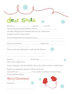 Cute letter to santa printable.