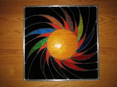 Spiraling Sun Stained Glass Window Panel Abstract Geometric EBSQ Artis