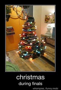 books, final week, raybansunglass rayban, student, college life, finals week, christma tree, book christma, christmas trees