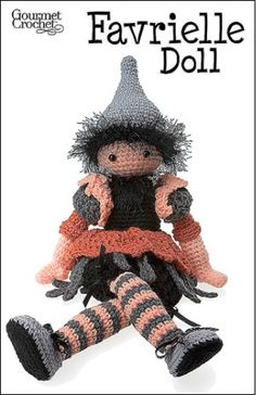 GC39107 Favrielle Doll Pattern- http://www.maggiescrochet.com/favrielle-doll-pattern-p-688.html#.UVmPkVeNpZ0 #crochet #pattern #holiday #Halloween #autumn #decorations #doll #toy