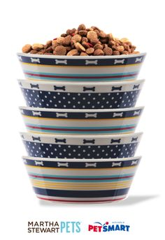 Add a touch of #nautical flair to your home with these #MarthaStewartPets feeding bowls. Buy a matching set or mix and match. Sold exclusively at #PetSmart. #petcare