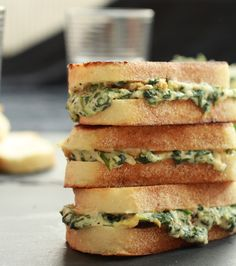 spinach and artichoke grilled cheese sandwich {use low fat cream cheese and mozzarella cheese}