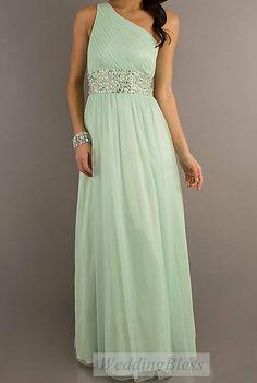 Sage Bridesmaid Dress Chiffon One Shoulder Prom Dress on Etsy, $118.00