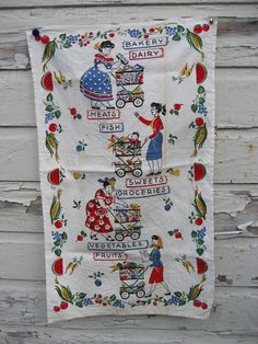 1950s Linen Tea Towel MARKET TO MARKET Retro by lostnfounddrygoods, $18.00