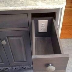 1. Add outlets to drawers to keep clutter off of the table top.