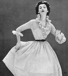 Dovima in Striped Dress 1952